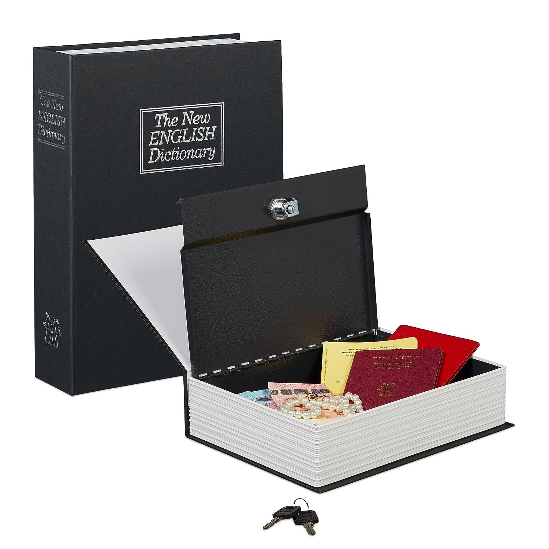 Relaxdays Buchtresor groß , verschließ bar, Stahlkassette, 2 Schlü ssel, H x B x T: 27 x 20 x 6,5 cm, Geldkassette, rot 10020800_47