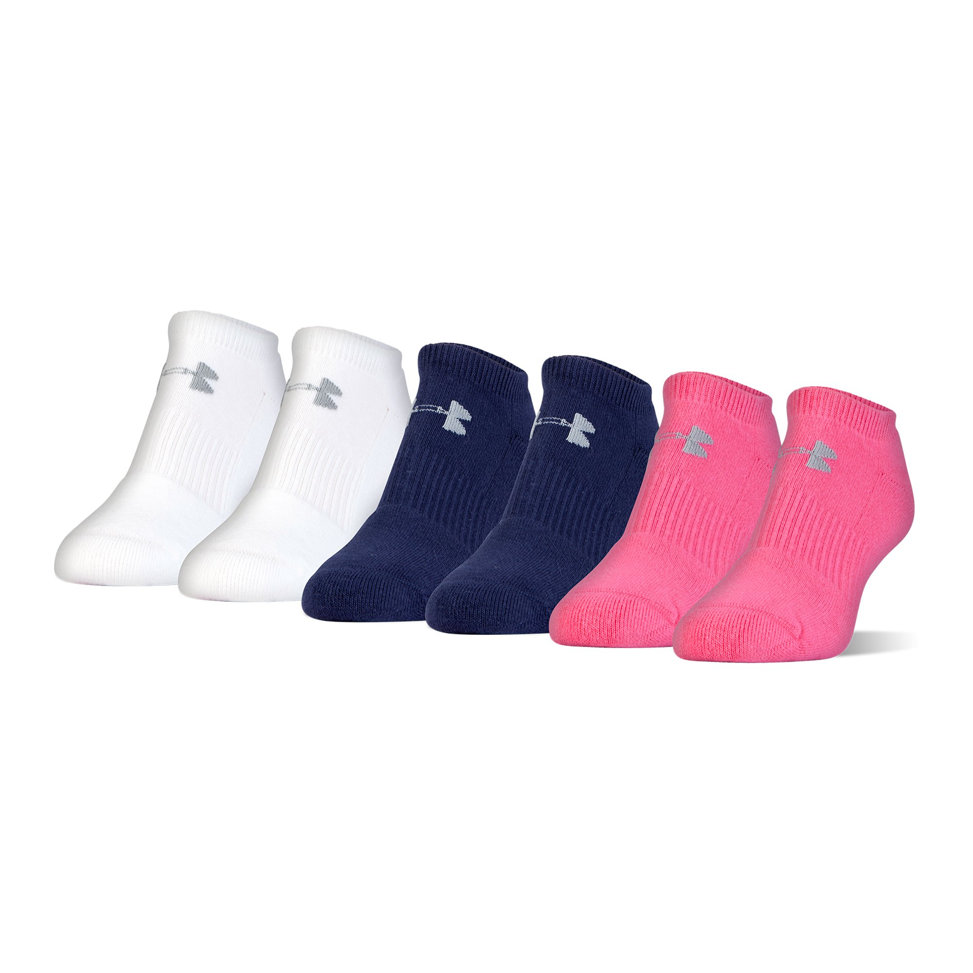 Under Armour Charged Cotton 2.0 No Show Socks, 6 Pairs, Pink Assorted, Medium
