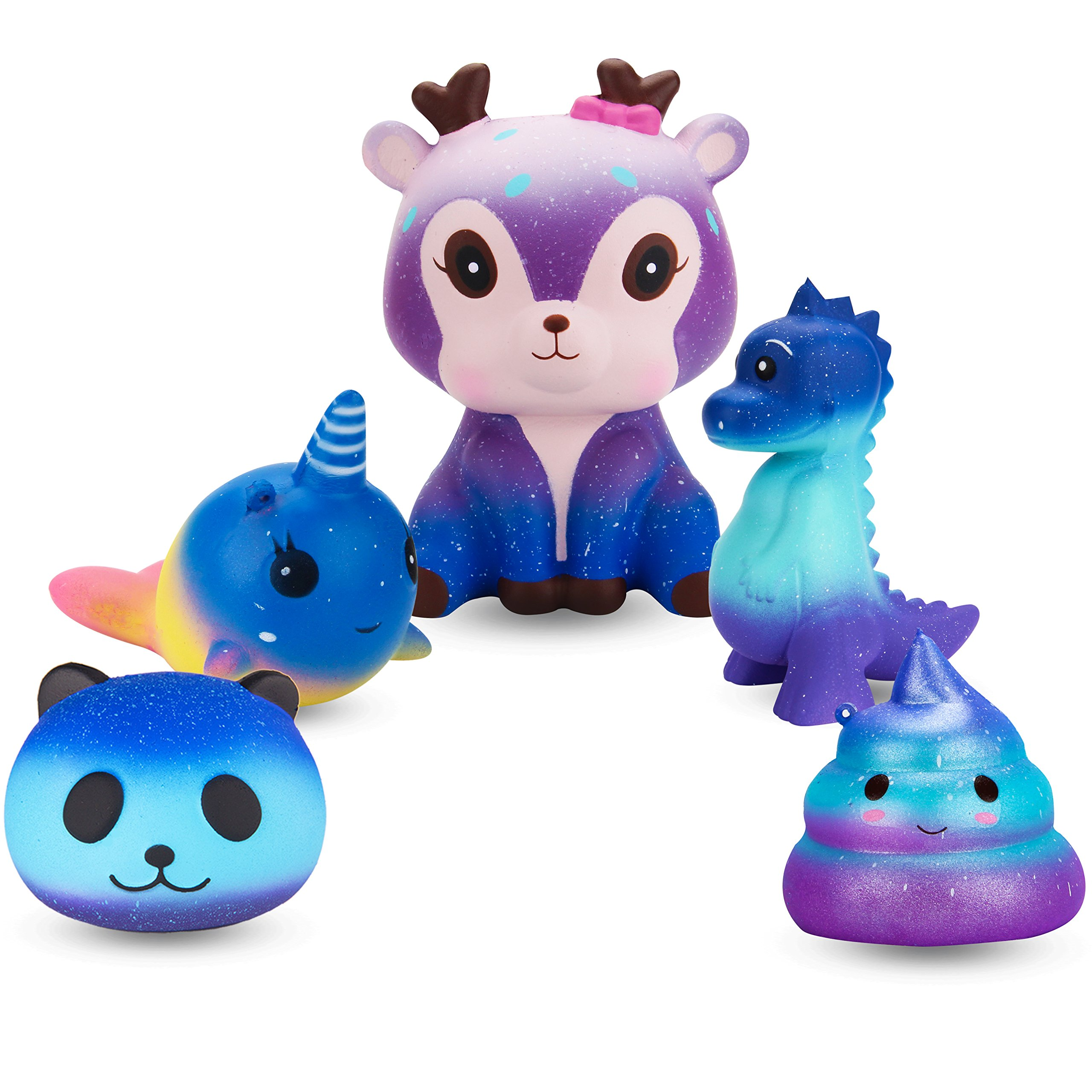 R ? HORSE Cute Galaxy Panda, Dolphin, Deer, Dinosaur, Excrement Set Kawaii Cream Scented Squishies Slow Rising Decompression Squeeze Toys for Kids or Stress Relief Toy (5 Pack)