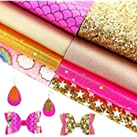 AUXIN 8 Pcs Mixed Gold Pink Series A4 Size Faux Leather Sheets Bundle for Earrings Bows Purses Making,Assorted Synthetic…