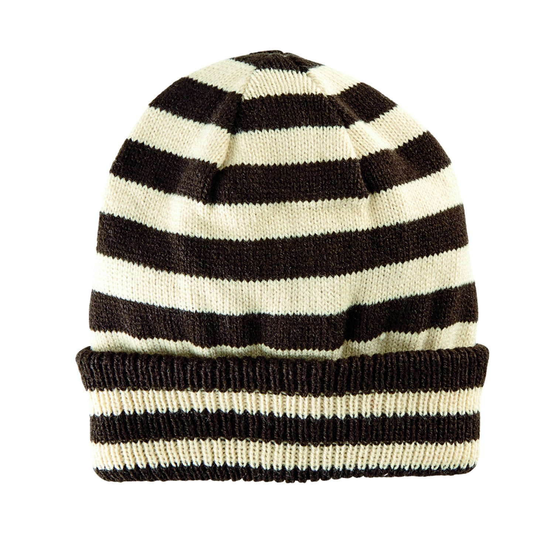San Diego Hat Company Kid's Fine Knit Stipe Beanie Hat, Brown, M