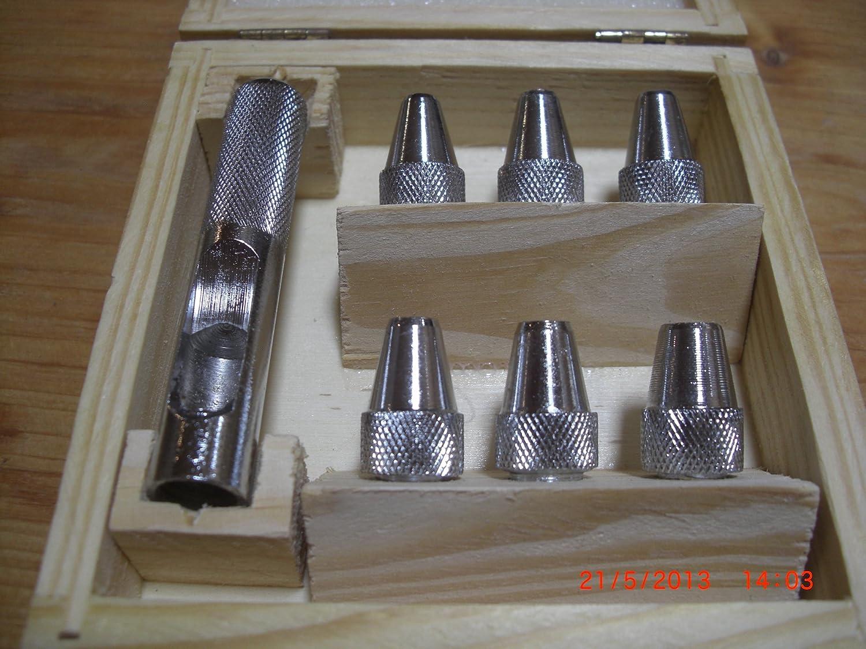 mit 6 verschiedenen Gr/ö/ßen 8,mm Locheisensatz 7 5 Lochstanzer 6 Locheisen 6.5 5.5