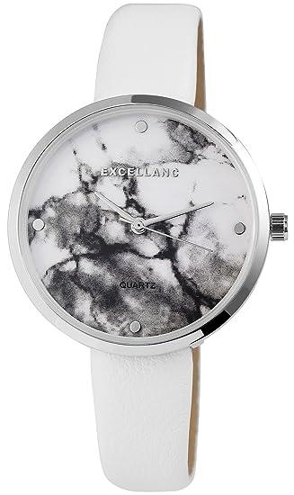 Reloj mujer Blanco Plata mármol de piel Look analógico de cuarzo reloj de pulsera