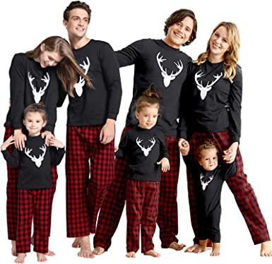 Matching Family Pajamas Sets Christmas PJs with Letter and Plaid Printed Long Sleeve Tee and Pants Loungewear