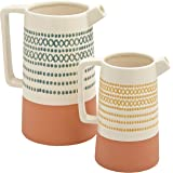 Amazon Brand – Rivet Modern Cylinder Stoneware Watering Can Vase Set - Pack of 2, Multicolor