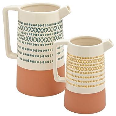 Rivet Modern Cylinder Stoneware Watering Can Vase Set - Pack of 2, Multicolor