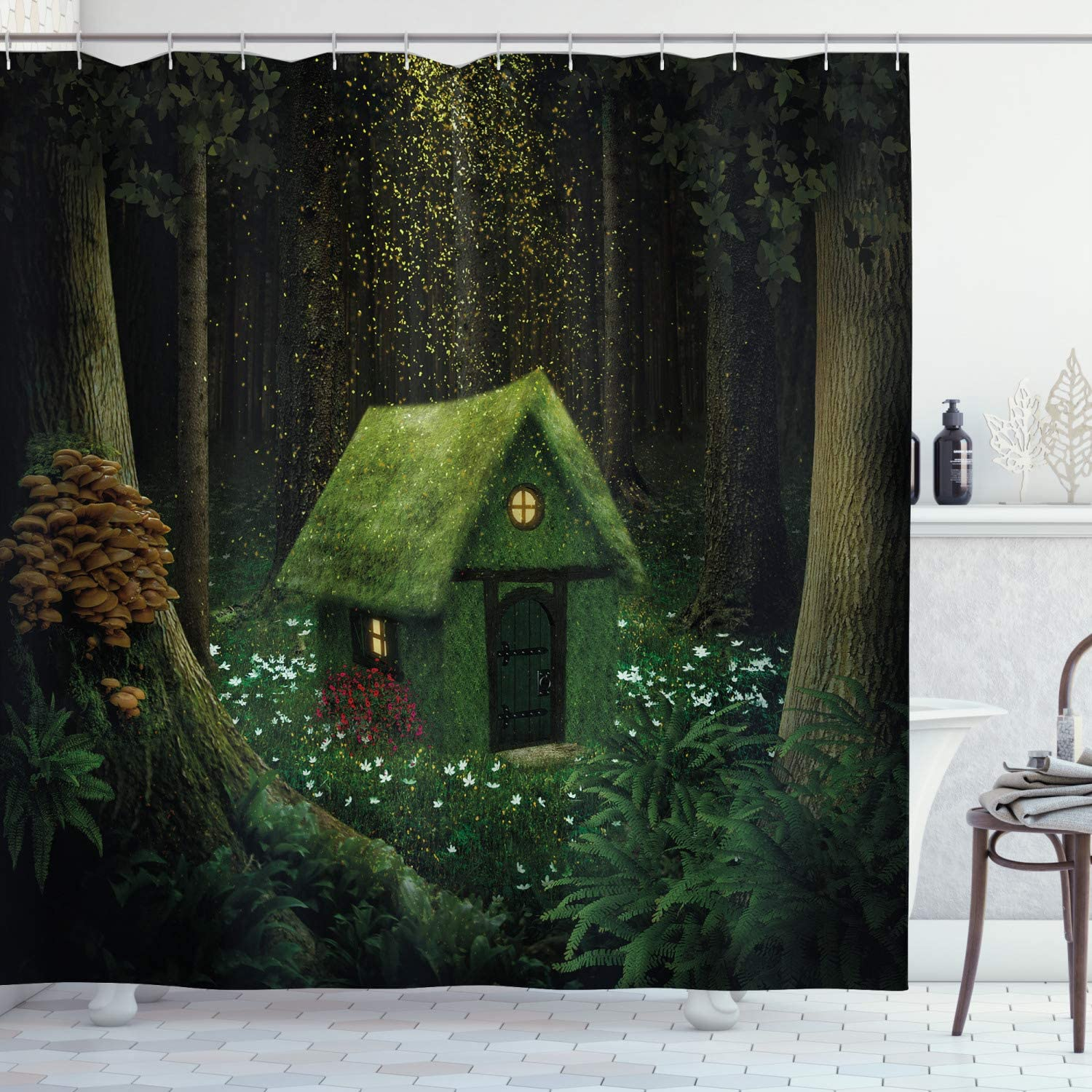 "Ambesonne Fantasy Shower Curtain, Surreal Little Forest House in Moss Enchanted Woodland Elves Design, Cloth Fabric Bathroom Decor Set with Hooks, 70"" Long, Hunter Green"