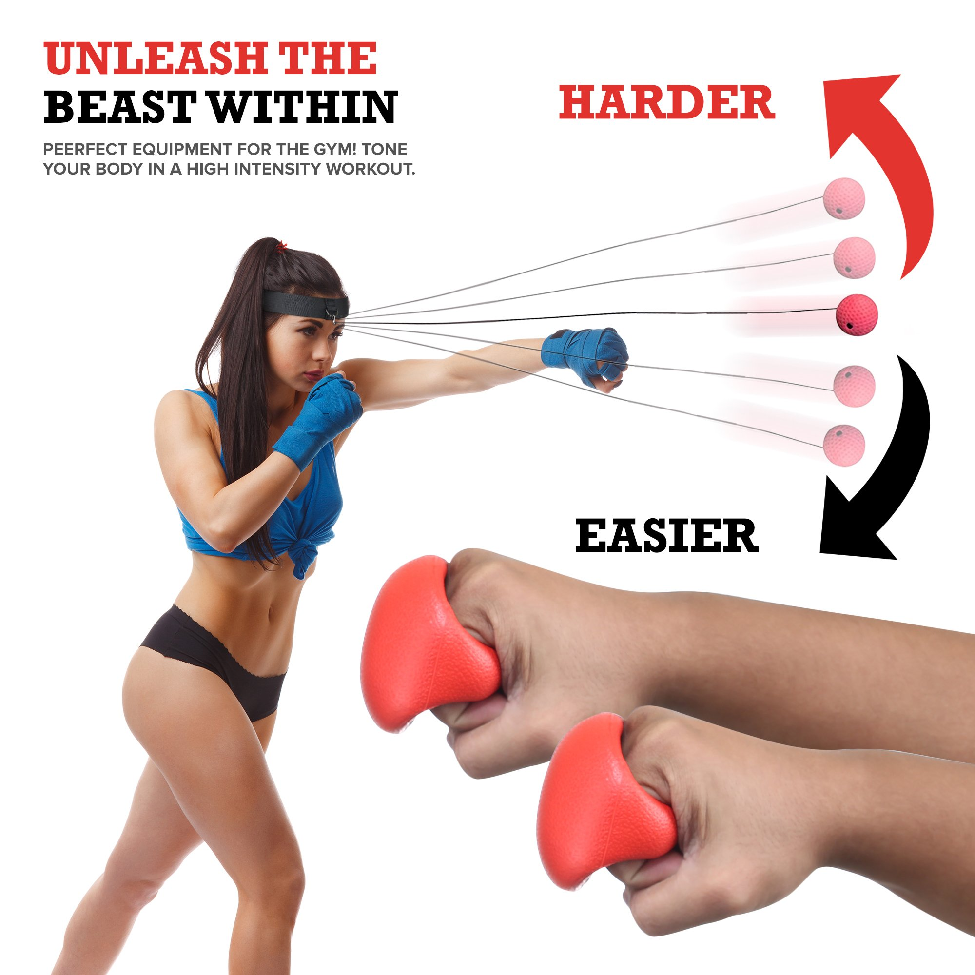 Boxing Reflex Ball - Boxing Equipment, Adjustable Head Band, Gloves, Extra String, Instruction and Repair Guide Included - Perfect For Reflex/Speed Training Improve Reactions for Kids Aswell by Punch King (Image #5)