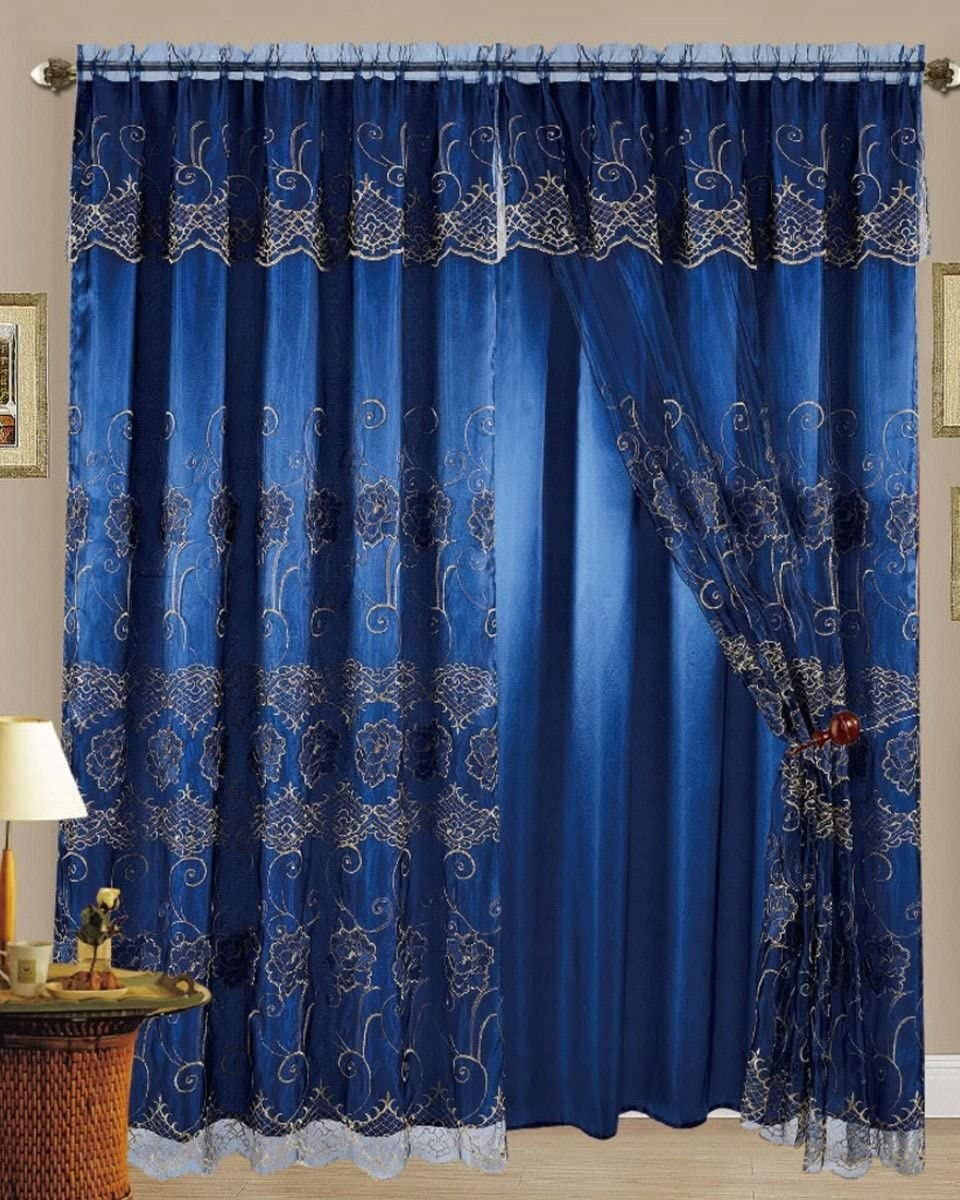 Set of 2 Melissa Embroidered Curtains Panels with Sheer Backing 63 Long, Navy Gold