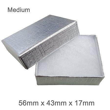 4855ac7cd Silvadore - Jewellery Gift Box - BLACK WHITE GOLD SILVER Cardboard Box -  Cotton Fluff Padding - Universal Jewelry Box (Medium (56x43x17mm), ...