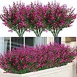 ArtBloom 8 pacotes de flores sintéticas de lavanda para uso ao ar livre arbustos resistentes a UV, Fúcsia, 8