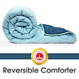 Divine Casa Everyday Striped Polyester Single Comforter - Stellar and Whispering Blue (150 GSM)