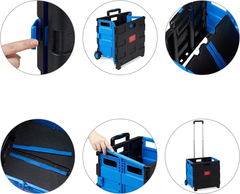 2 Gummi Rollen Kunststoff Teleskop-Griff ABS bis 35 kg 98 x 45,5 x 37 cm Relaxdays Shopping Trolley blau Einkaufstrolley klappbar Aluminium
