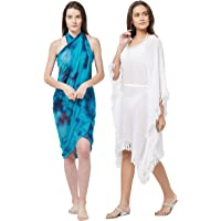 SOURBH Swim Coverup Kaftan & Sarong for Women Combo Value Pack Body Wrap Beach Wear Dress- Set of 2 (S370_SK434 - Turquoise & White - Free Size)