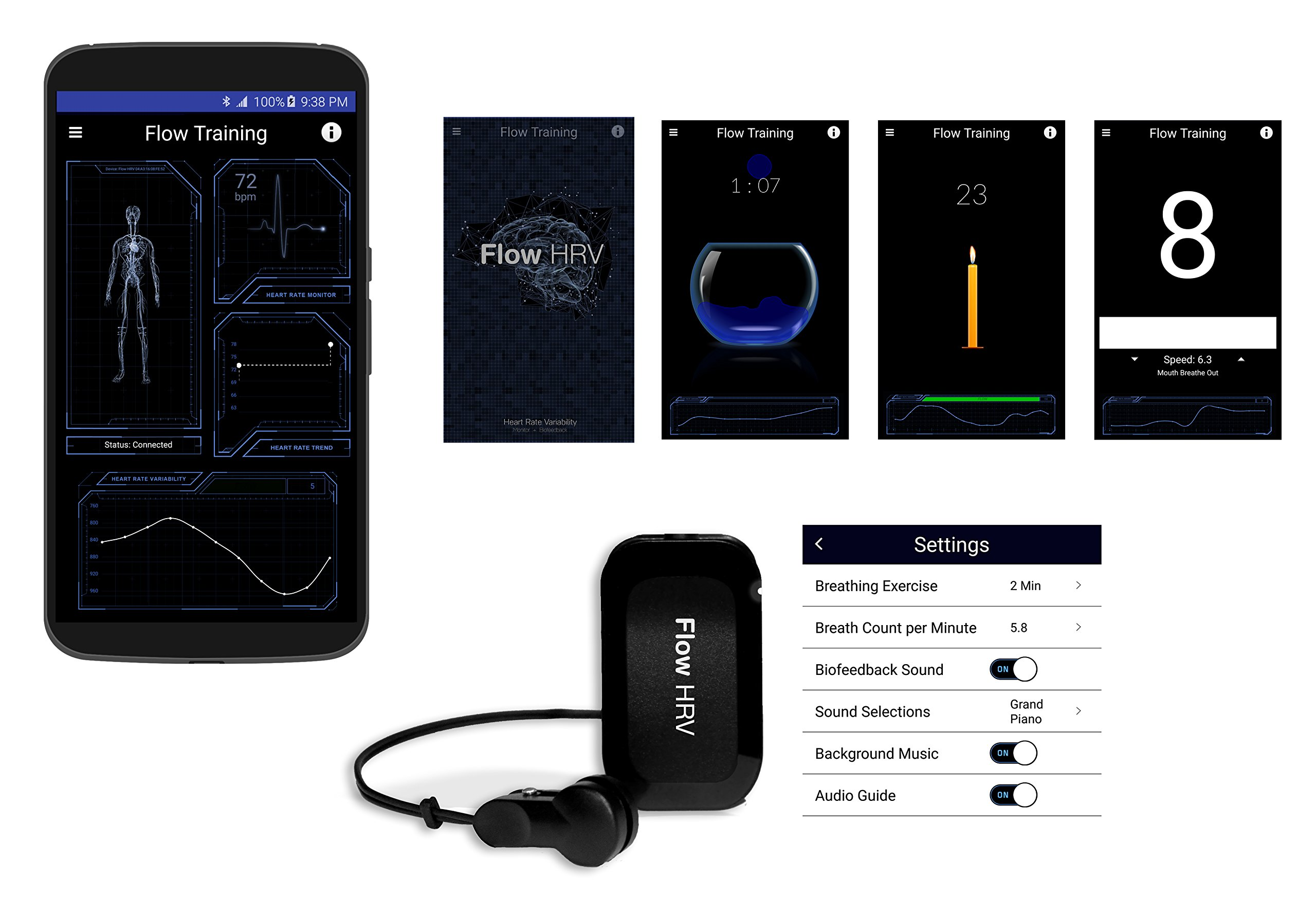 Flow HRV: Biofeedback Wireless Android Device & Games for Meditation, Relaxation and Focus Traning by Flow HRV (Image #2)