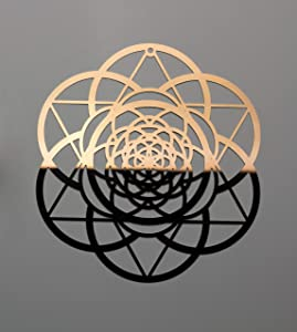 "ZenVizion 5.31"" Seed of Life Merkabah COPPER/GOLD color Stainless Steel, Soul Reminder, Sacred Geometry Hanging, Meditation Yoga Artwork, Home Decor Wall Art, Wall Sculpture, Prosperity, Abundance, Car Hanger"
