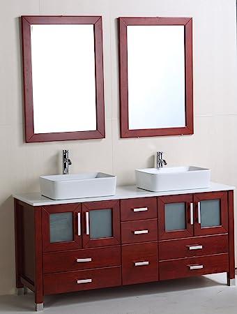 Lavie 60 Inch Double Sink Bathroom Vanity Microctystal Stone Counter Top Ceramic Basin Framed Mirrors Amazon Com