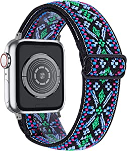 MEFEO Adjustable Elastic Bands Compatible with Apple Watch Bands 38mm 40mm 42mm 44mm, Soft Stretch Bracelet Replacement for iWatch Series 6/5/4/3/2/1&SE Women Girls (Aztec Green Blue, 42mm/44mm)