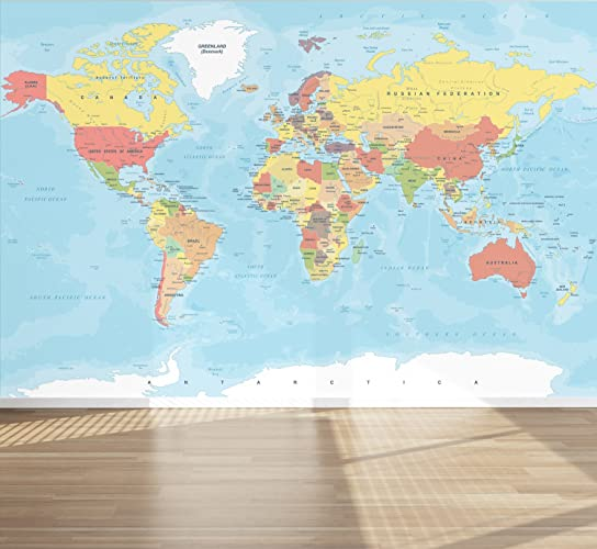 Wall mural world map peel and stick repositionable fabric wallpaper wall mural world map peel and stick repositionable fabric wallpaper for interior home decor gumiabroncs Images