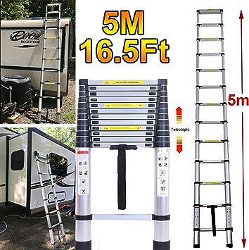 Escalera telescópica multiusos plegable de aluminio, extensible, portátil, 5 m, extensible para bricolaje, 150 kg de carga, EN131: Amazon.es: Bricolaje y herramientas