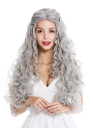 WIG ME UP ® - 91323-ZA68E Peluca Mujer Pelo Muy Largo Ondulado Trenzado Raya en Medio Romanticismo Cuento Princesa Hippie Gris