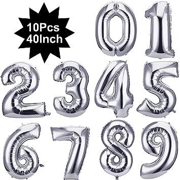 40 Pulgada Globos de Números Digitales 0 a 9 Globos Numerados Globos de Papel de Aluminio para Fiesta de Aniversario de Cumpleaños Boda Nupcial Ducha ...