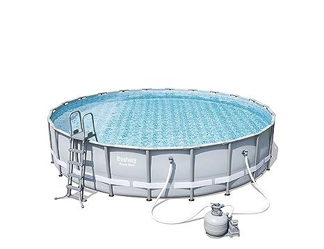 Bestway Power Steel Frame Pool Set, Gris Claro, Redondo con Arena Bomba de Filtro