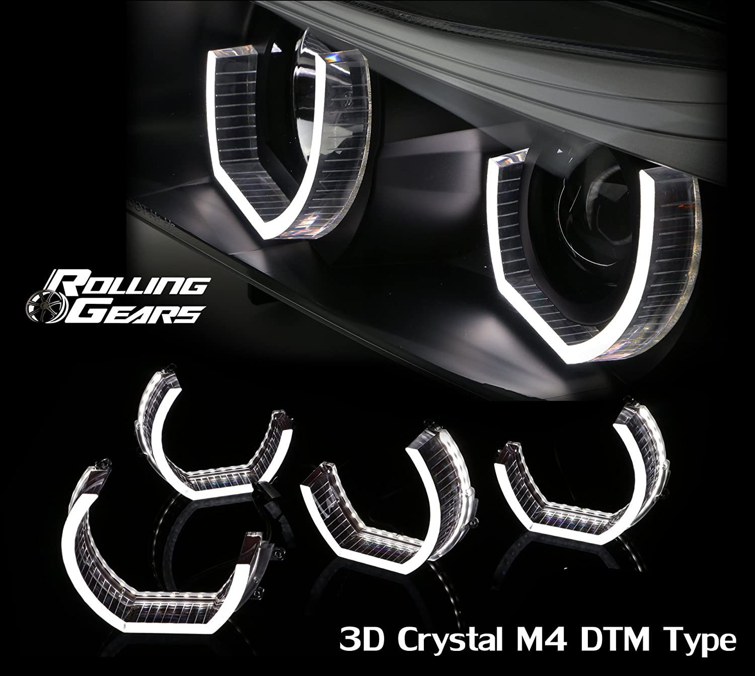 Daytime Running Light Angel Eye Ring Kit Modification, (Smoked) x 4 Piece Rolling Gears 4333207835