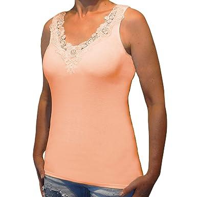 7e9f735a1278e Toker Collection Hübsches Damen Unterhemd mit extra breiter Spitze in  versch. Farben