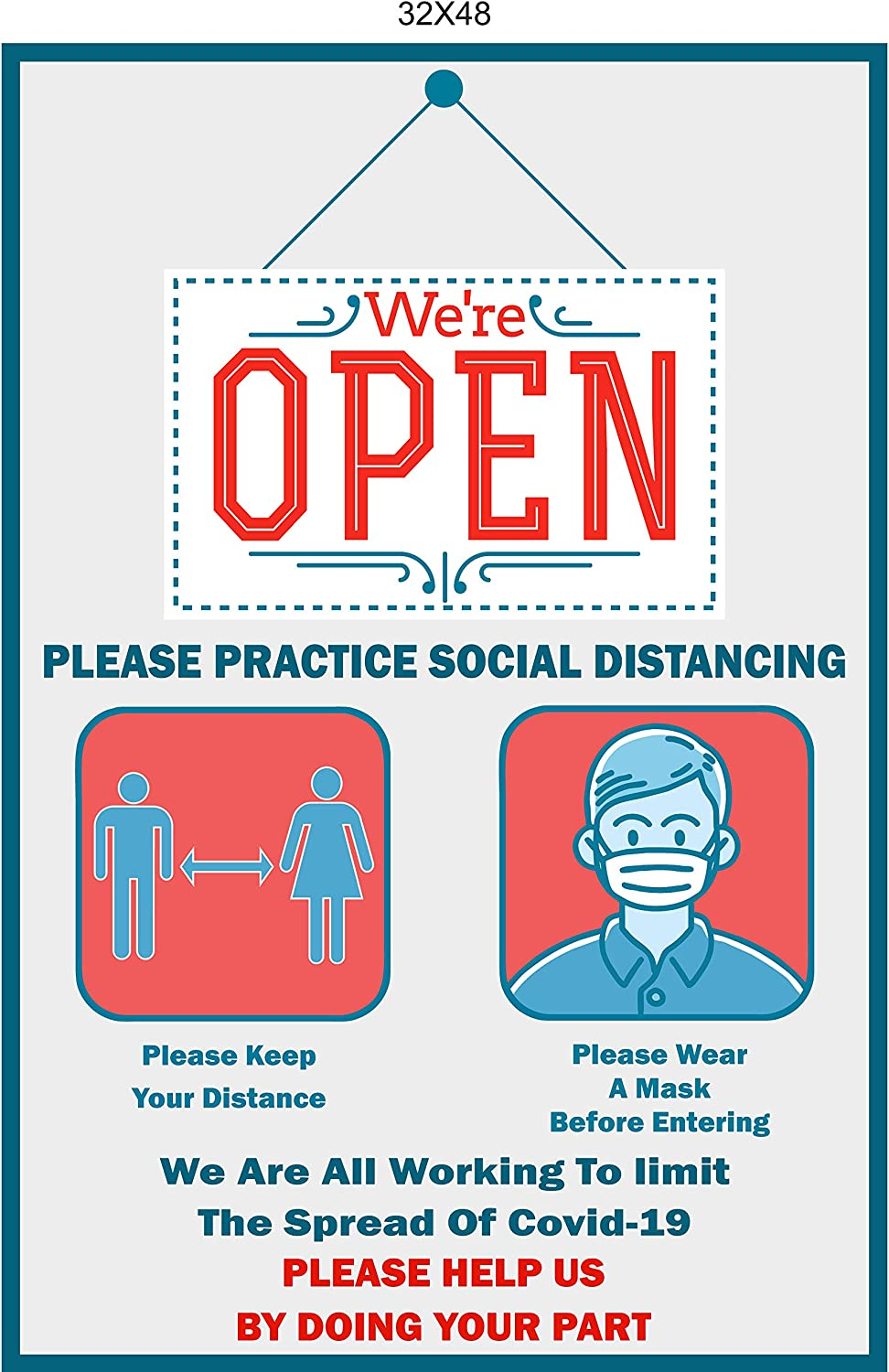 32x48 with Grommets Every 2-3 Feet were Open Sign Were Open Sign Please Practice Social Distancing Sign Please Wear A Face Mask Vinyl Banner Social Distancing Sign Were Open Banner
