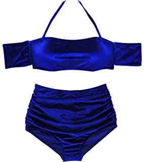 5c2ab2993a214 Amazon.com  Sexy Women Velvet Bikini-Set Crop Tank and Thong Bikini ...