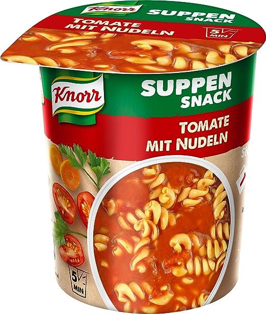 Knorr Suppen Snack Tomate mit Nudeln, 1 Portion, 8er Pack