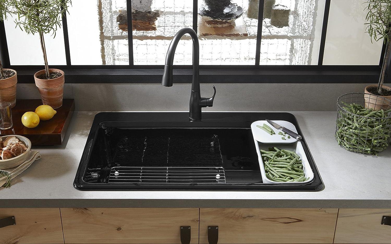 Cast iron single bowl kitchen sink - Kohler K 5871 4a2 0 Riverby Single Bowl Top Mount Kitchen Sink With Four Holes White Amazon Com