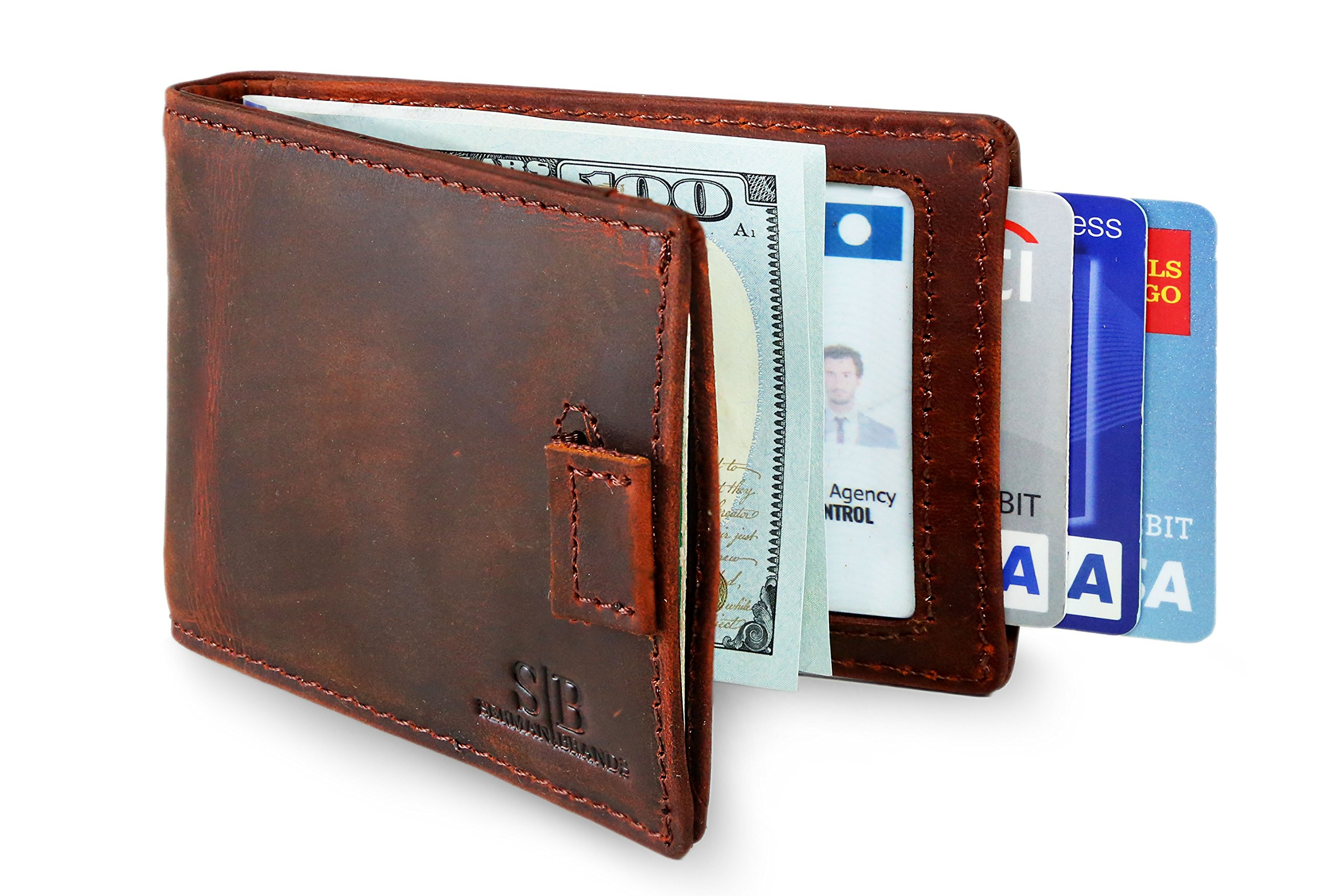 Travel Wallet RFID Blocking Bifold Slim Genuine Leather Thin Minimalist Front Pocket Wallets for Men Money Clip - Made From Full Grain Leather (Canyon Red 3.0)