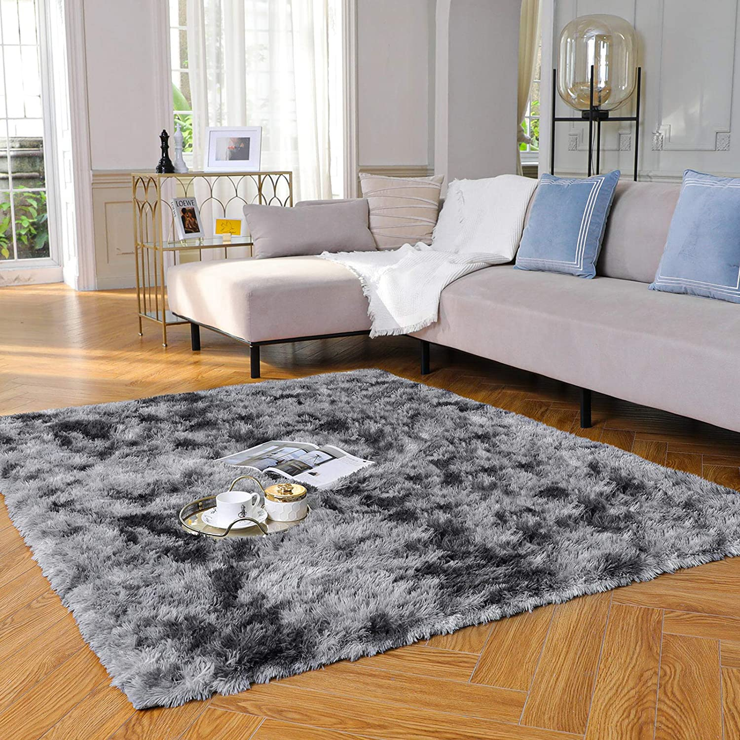Yome Machine Washable Area Rug, Fuzzy Soft Carpet with Durable Edges, Home Decor Floor Rug for Your Home's Living Room, Bedroom, Kid's Room, Office, Fluffy Rug 4 x 5.3 Feet, Light-Grey/Black.