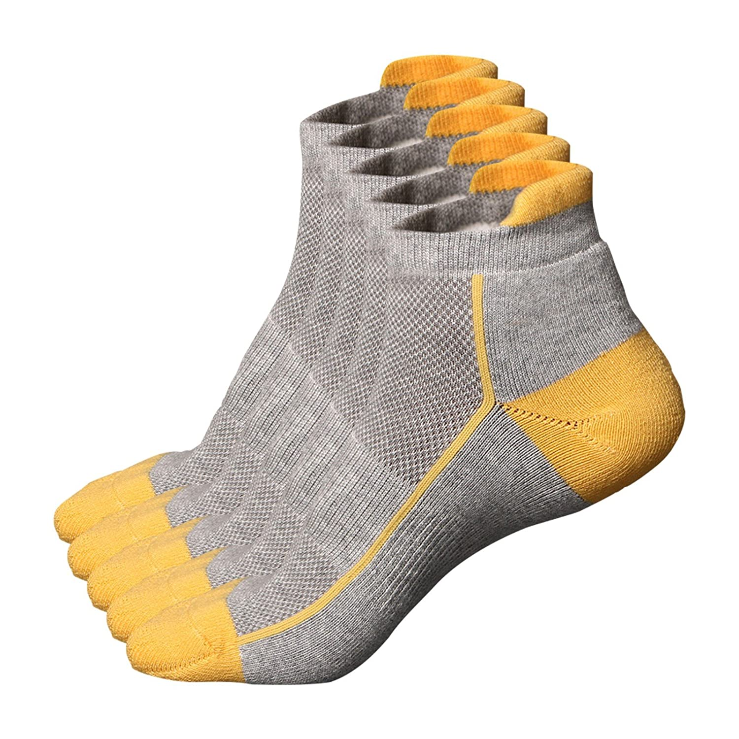 Beauty7 Men Women 5 Pairs Low Cut Thin Athletic Running Tab Socks Heel Ankle High Moisture-Wicking Breathable