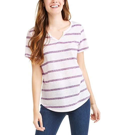 8440df598d3 Time and Tru Women s Short Sleeve Jersey Tee (Arctic White Purple ...