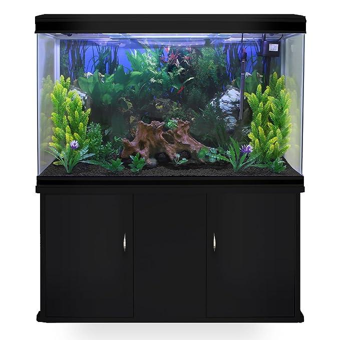 MonsterShop - Acuario 300 Litros con Mueble Negro y Kit con Plantas y Grava Negra 143cm x 120cm x 39cm: Amazon.es: Hogar