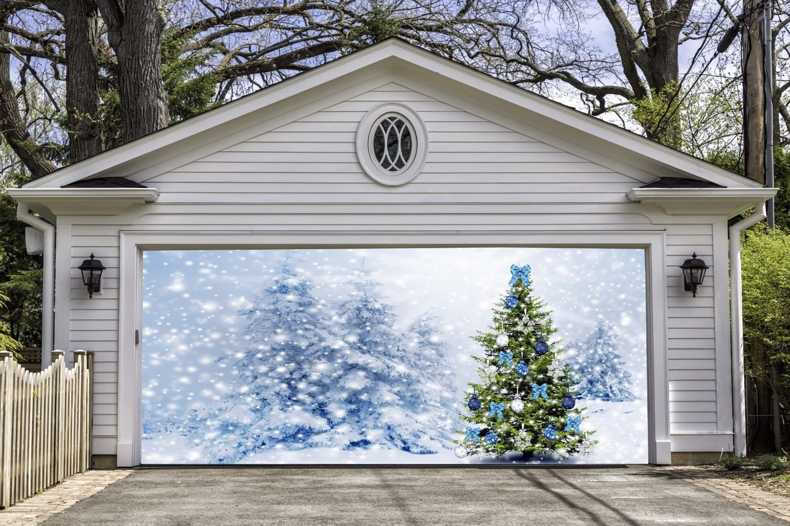 3D Christmas Tree Garage Door Covers Banners Outdoor Full Color House Billboard for 2 Car Garage Door Holiday Merry Christmas Decorations Art Murals size 82x188 inches DAV51