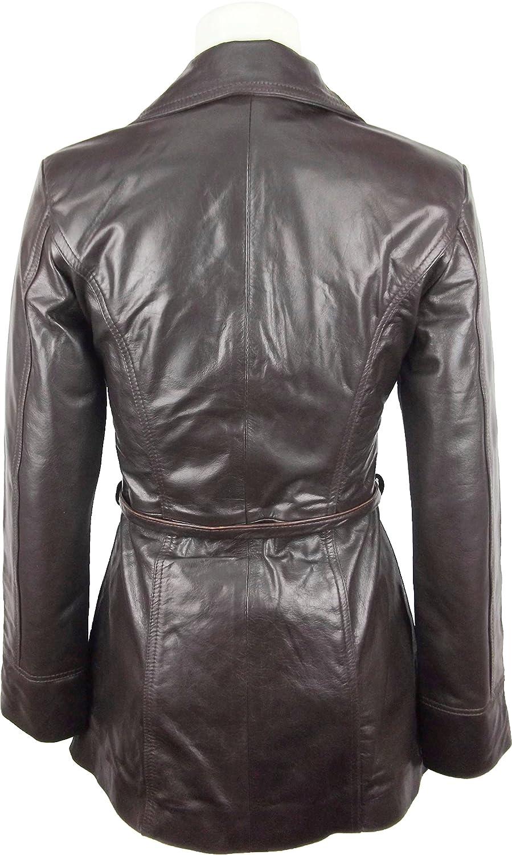 UNICORN Damen Mittlere Länge Mantel Schwarz Glasur #P5 Echtleder Jacke