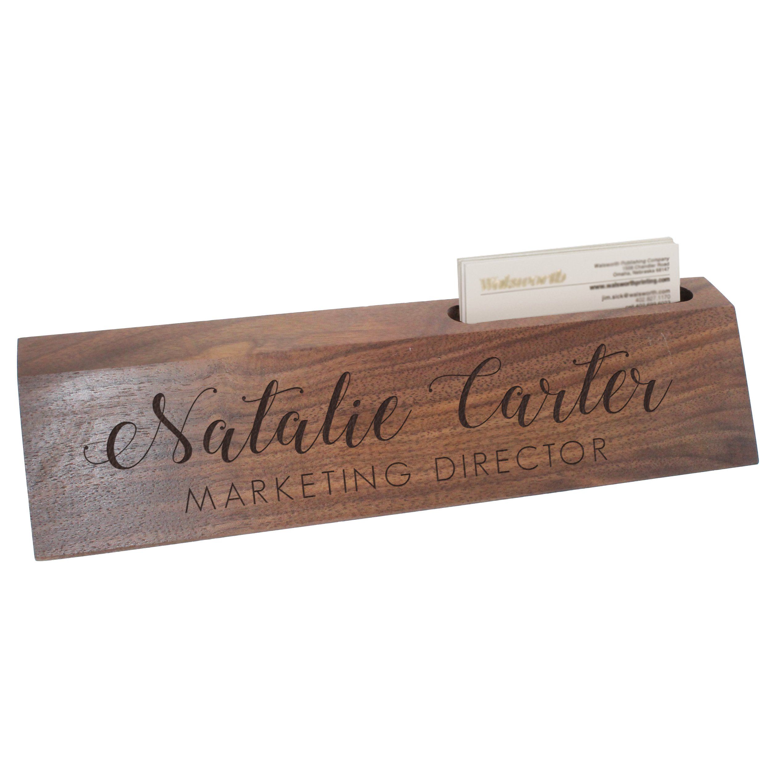 Custom Engraved Desk Name Plate - Personalized Desk Wedge with Business Card Holder (Walnut Wood) by The Wedding Party Store
