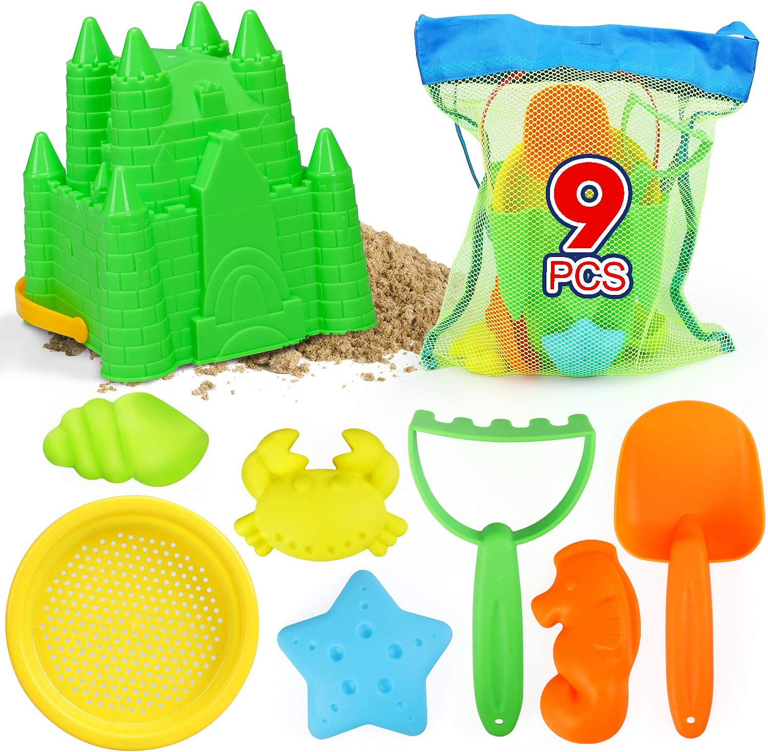 and Sand Castle Toys for Beach TOY Life Sand Toys for Kids Toddlers Rake Sandbox Toys Set with Bonus Waterproof Carrying Net 9 Beach Toys Includes Beach Sand Castle Bucket,Toy Shovel Toy Sifter