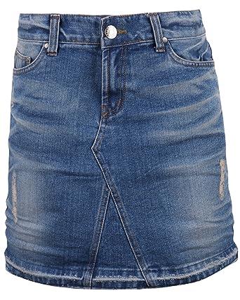 af0b8ff0d7d5 ililily Woman Vintage Distressed Washed Cotton Denim Classic Fit H-line Mini  Skirt (32