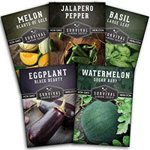 Survival Garden Seeds Warm Weather Collection Seed Vault - Non-GMO Heirloom Survival Garden Seeds for Planting - Summer Bounty for Home Gardeners