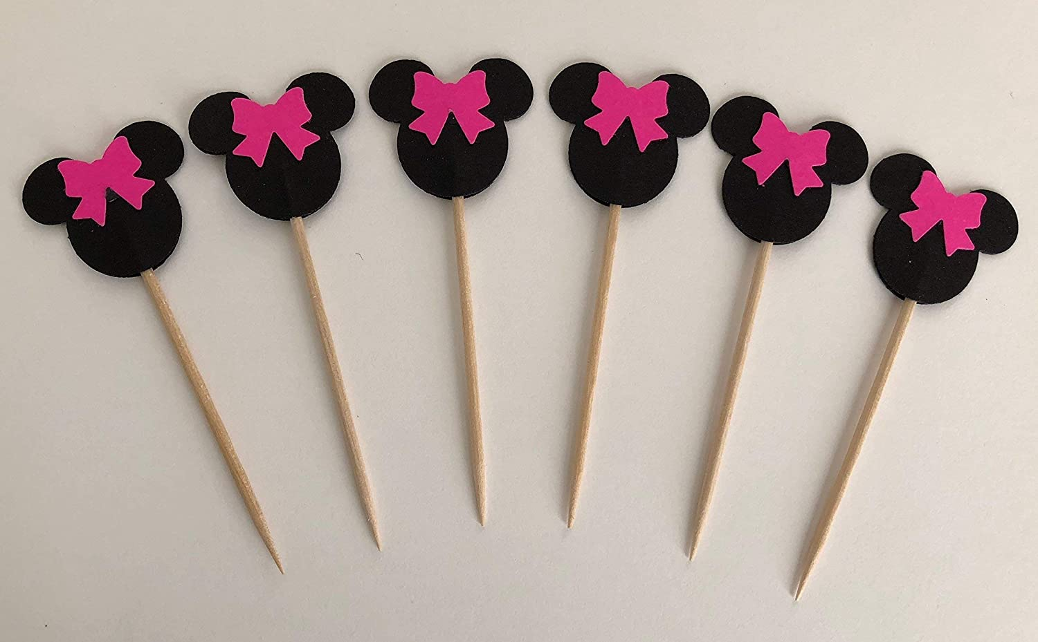 Minnie Mouse Pink Bow Double Sided Cupcake Toppers Cake Centerpieces Party Picks Kids Food Decor 1