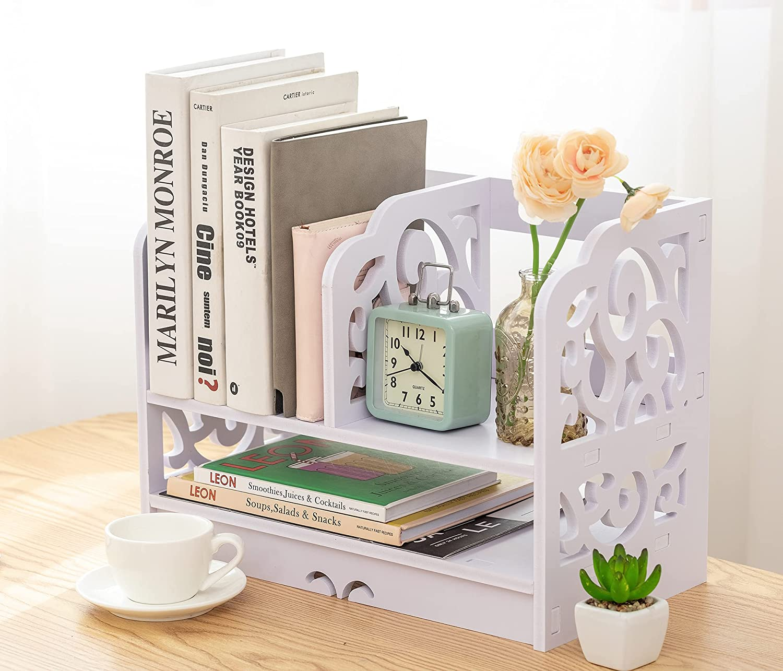 Bookshelf for Desktop Storage,Small Desk Organizers for Women, Children, Men, Office Storage Rack for Home and Office Decor Accessories 25.6 X 6.7 X 15 Inch (White) LISIBOOO