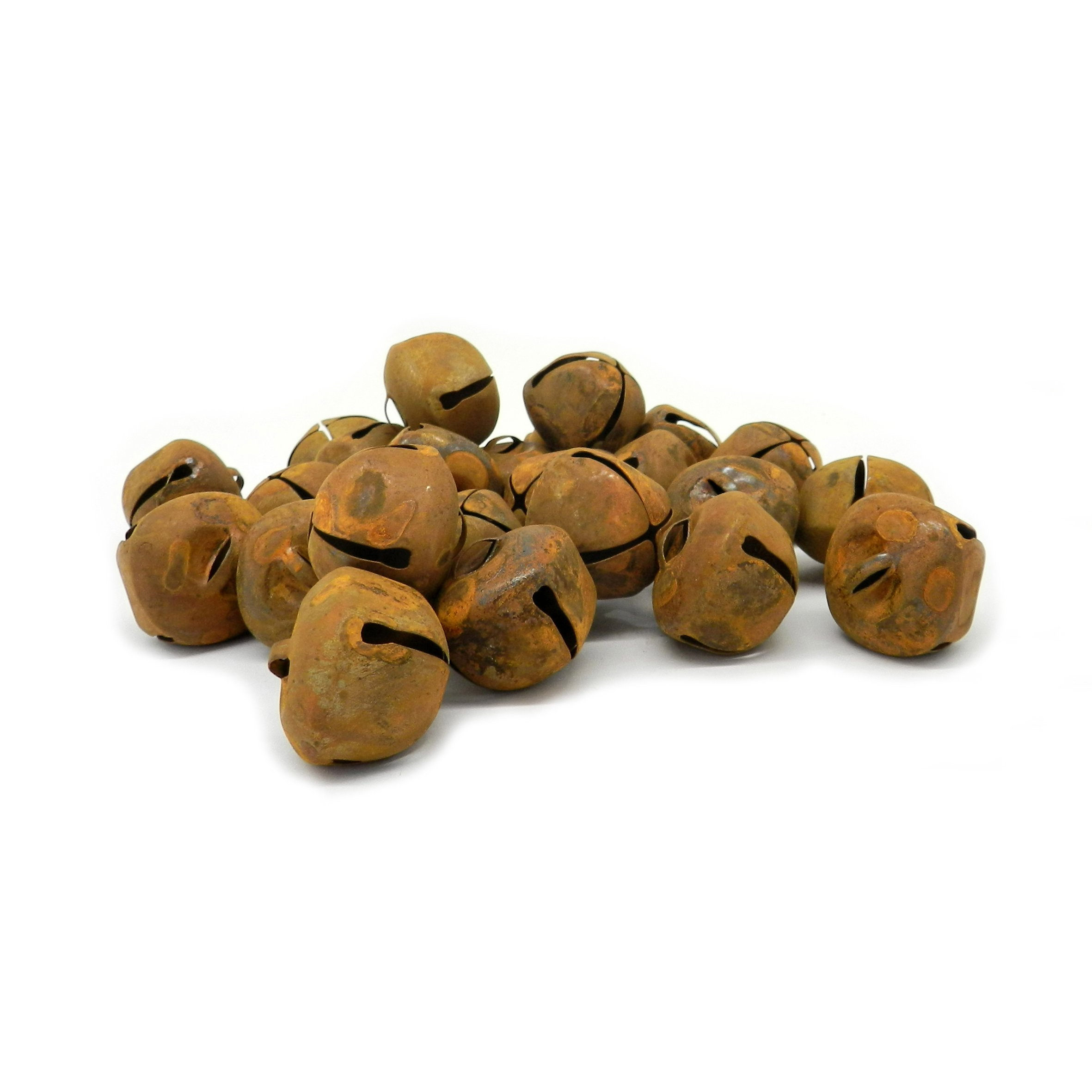 CVHOMEDECO.. Country Primitive Craft Rusty Tin Jingle Bells for Crafting, Designing and Decorating, 1-3/16'', Packages of 24.