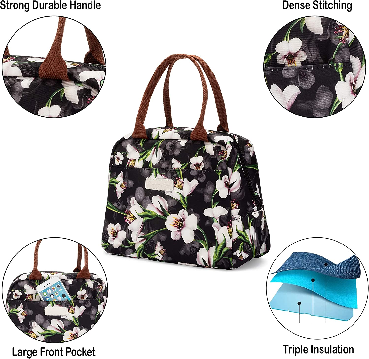 Insulated Lunch Bags For Women With Lunch Box Container For Work Leak Proof Smell Proof Lunch Tote Bag For Adults and Kids