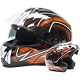 Dual Visor Modular Flip Up Helmet - Black / Orange ( XL )