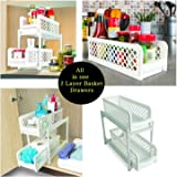 House of Quirk 15 Versatile 2 Tier Portable Sliding Basket Drawers Storage Cabinet Box
